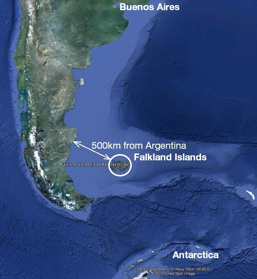 Map of The Falkland Islands showing how they are closer to Antarctica than to Buenos Aires. Image from Google Earth.