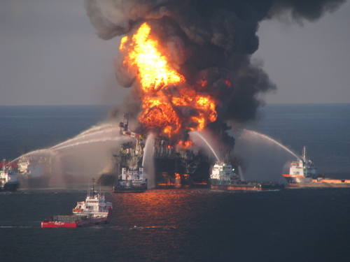 Photograph of Deepwater Horizon oil rig fire in Gulf of Mexico—courtesy of United States Coast Guard